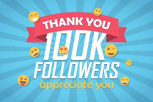 Bedankt 100k volgers gefeliciteerd achtergrond met emoticon. Premium Vector