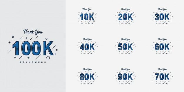 Bedankt 10k tot 100k volgers design Premium Vector