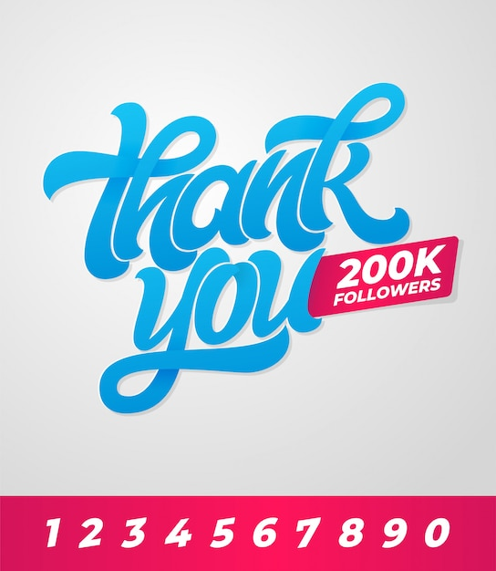 Bedankt 200.000 volgers. bewerkbare banner voor sociale media met penseel belettering op achtergrond. illustratie. sjabloon voor spandoek, poster, bericht, bericht. Premium Vector