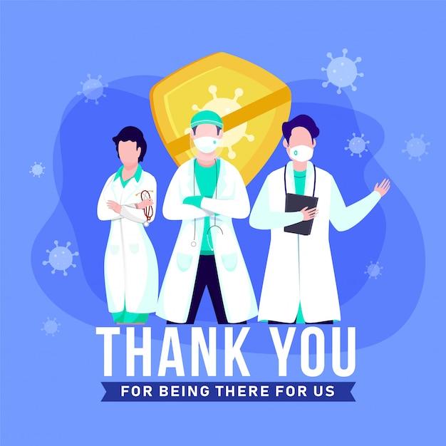 Bedankt aan de artsen, verpleegsters, medisch personeel die in het ziekenhuis werken en voor ons het coronavirus bestrijden. Premium Vector