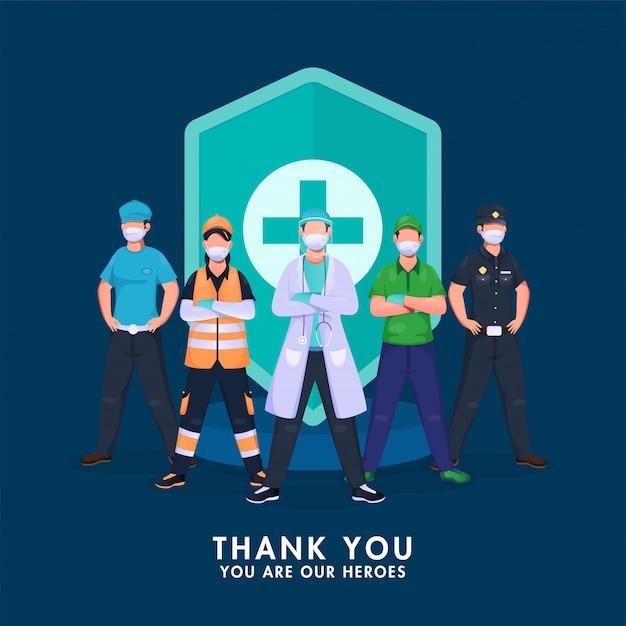 Bedankt alle krijgers die vechten tegen het coronavirus met een medisch beveiligingsschild op een blauwe achtergrond. Premium Vector