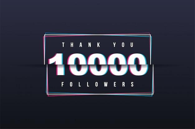 Bedankt banner van 10.000 volgers Premium Vector
