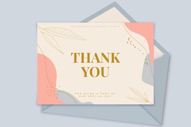 Bedankt bruiloft kaartsjabloon Gratis Vector