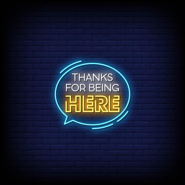 Bedankt dat je hier neon signs style text bent Premium Vector