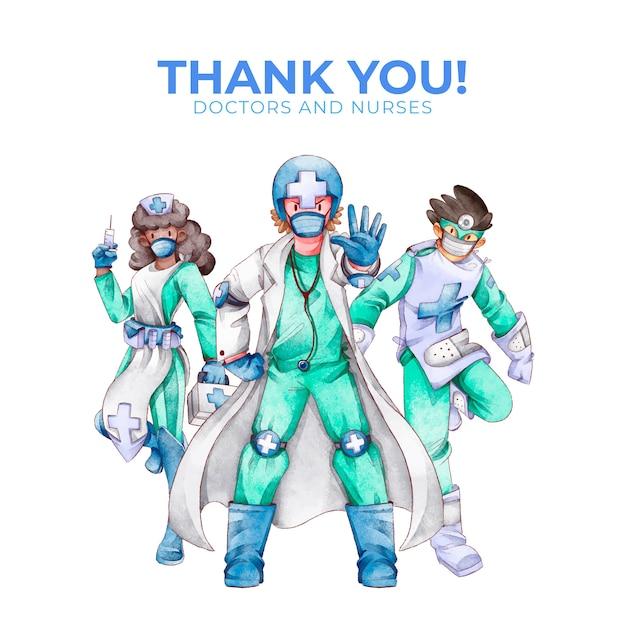 Bedankt dokters en verpleegsters Gratis Vector