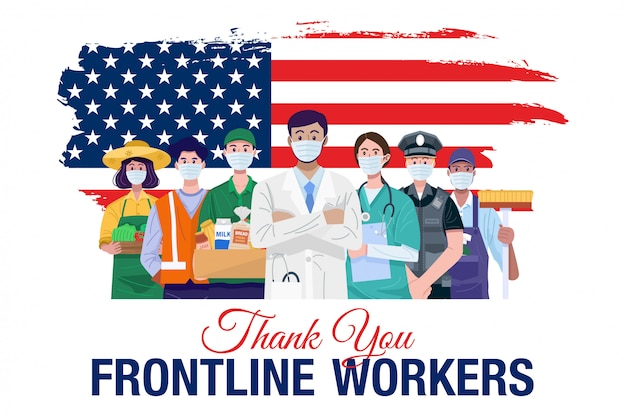 Bedankt eerstelijnswerkers. verschillende beroepen mensen staan met amerikaanse vlag. vector Premium Vector