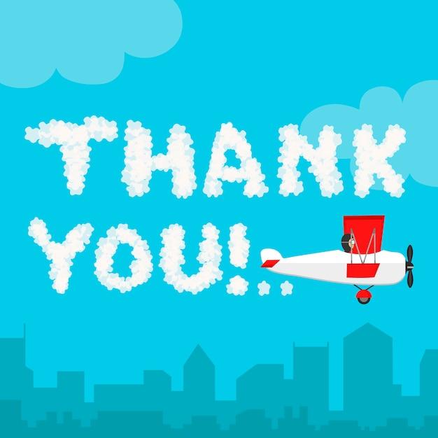 Bedankt in de lucht. illustratie van wolk alfabet geïsoleerd op een blauwe lucht en stad landschap. weer tekst hemel en vlak vliegtuig. bedankt Premium Vector