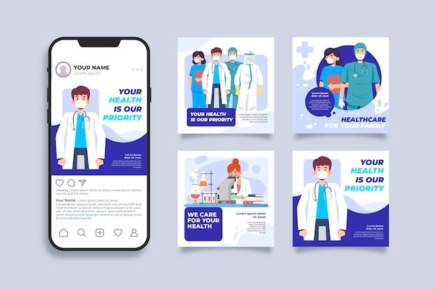 Bedankt medische persoonlijke postverhalen Gratis Vector