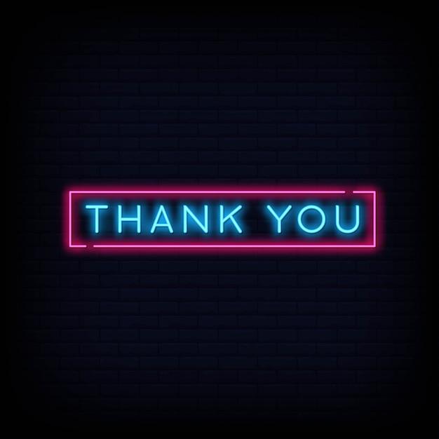 Bedankt neon tekst teken. lichte banner poster. Premium Vector