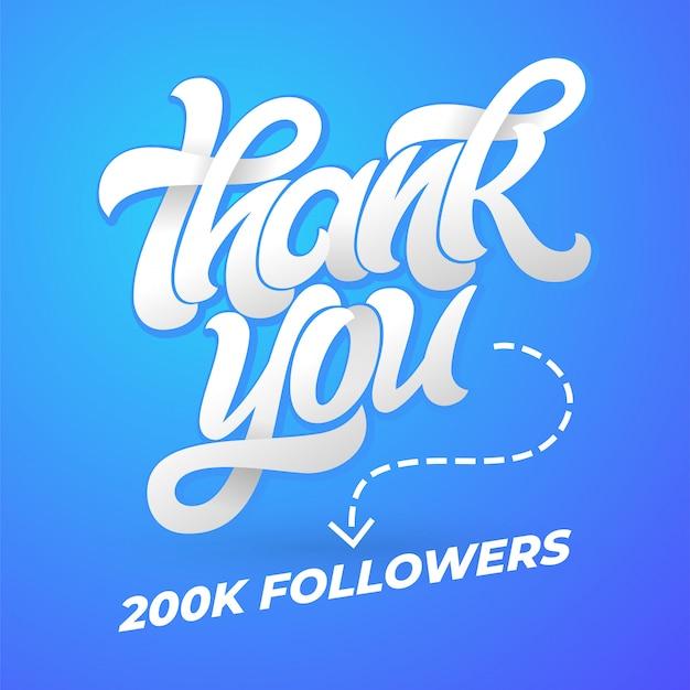 Bedankt volgers. sjabloon voor sociale media met borstelkalligrafie op blauwe achtergrond. illustratie. handgeschreven letters voor spandoek, poster, bericht, post. Premium Vector