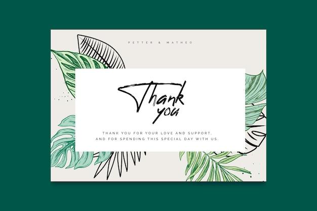 Bedankt voor de komst van een trouwkaartsjabloon Gratis Vector