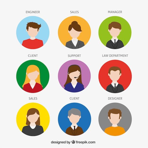 Bedrijf avatars Gratis Vector