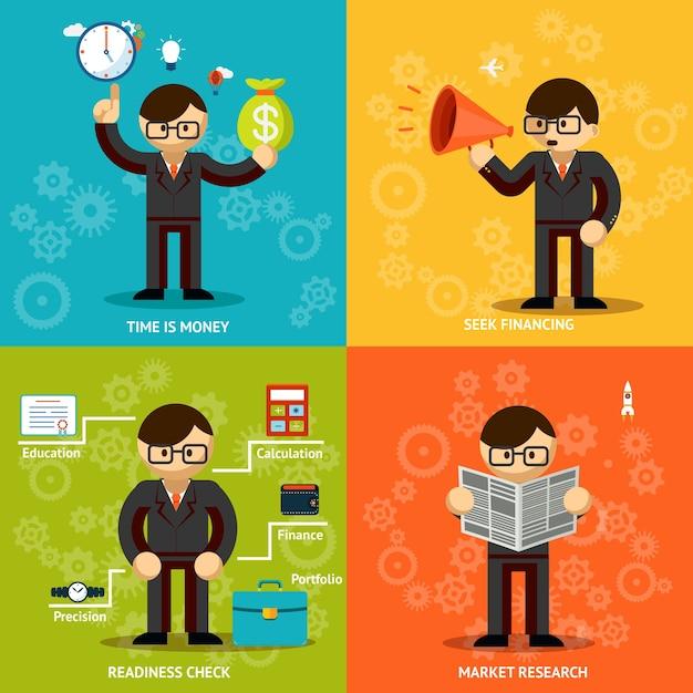 Bedrijf benadrukken. tijd en geld. fondsenwerving en onderzoek Gratis Vector