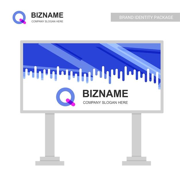 Bedrijf bill board design met q-logo vector Gratis Vector
