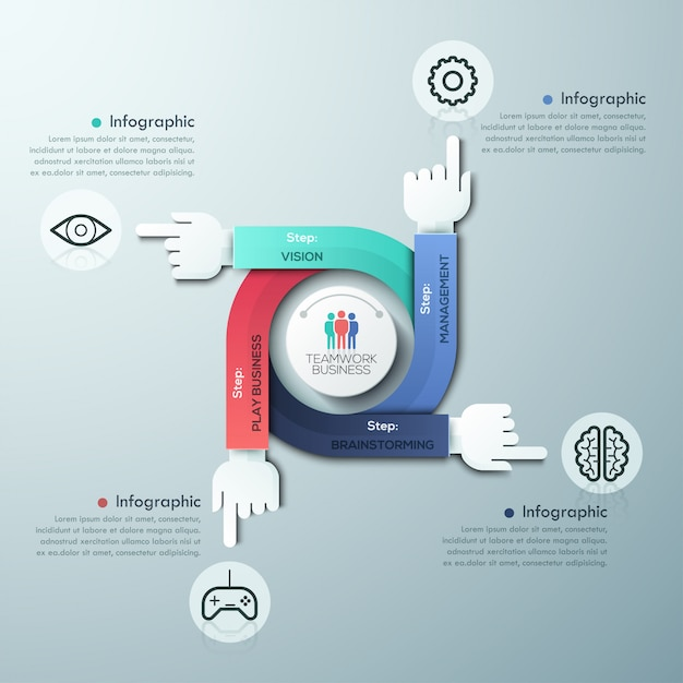 Bedrijf handen teamwerk infographics sjabloon Premium Vector