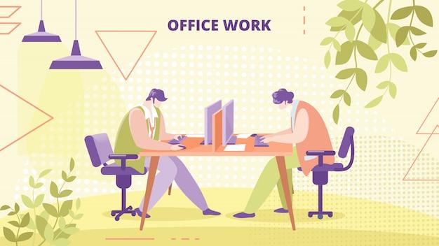 Bedrijf medewerkers kantoorwerk platte vector banner Premium Vector