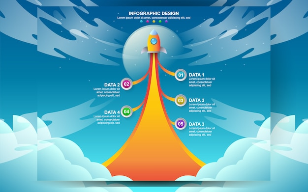 Bedrijf opstarten infographic sjabloonontwerp. vector illustratie concept van infographic ontwerp web met 5 nummer optie stap. Premium Vector