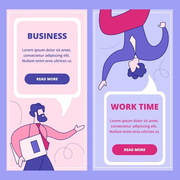 Bedrijf, werktijd platte webbanner set Premium Vector