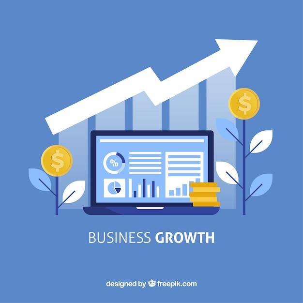 Bedrijfs de groeiconcept met laptop Premium Vector