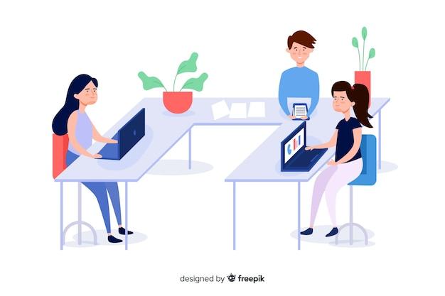 Bedrijfs mensen bij geïllustreerde bureaus Gratis Vector