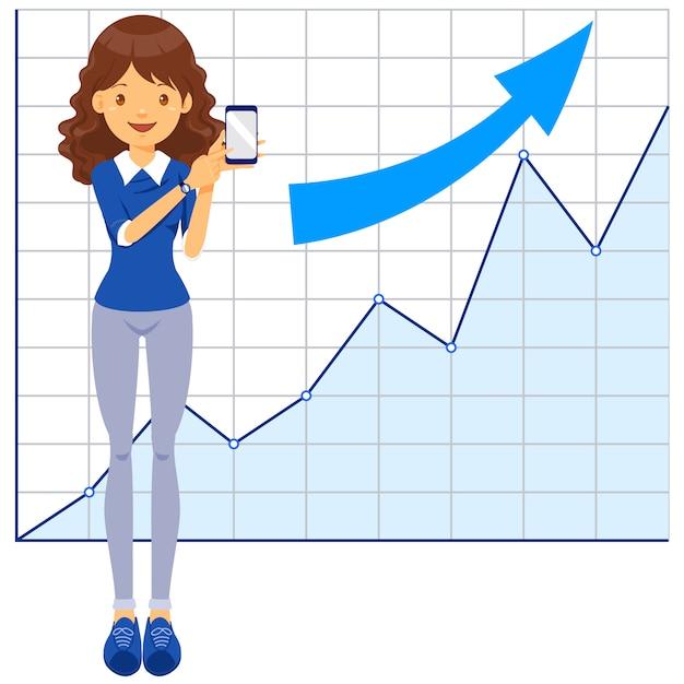 Bedrijfs vrouw, trainer, leraar, communicatie Premium Vector