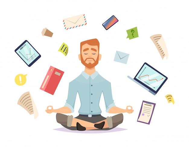 Bedrijfs yoga. zen kantoor ontspant concentratie aan yoga praktijk werktafel Premium Vector