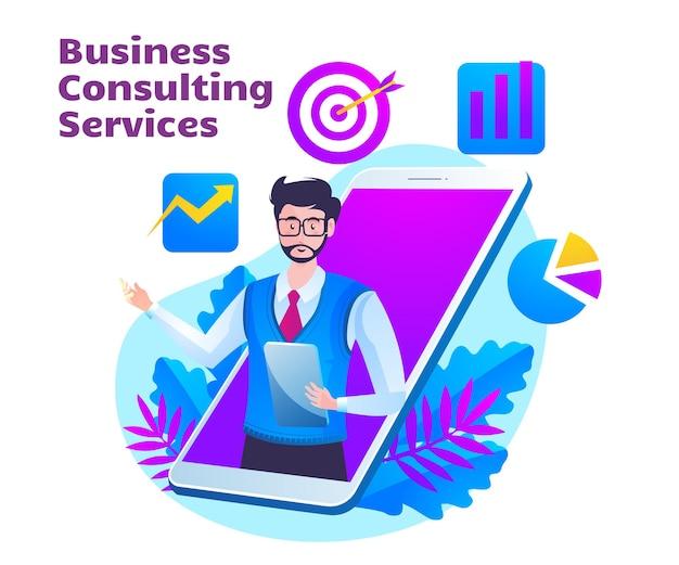 Bedrijfsadviesdienst met man en mobiel smartphonesymbool Premium Vector