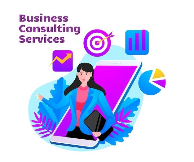 Bedrijfsadviesdienst met vrouw en mobiel smartphonesymbool Premium Vector