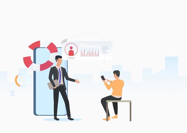 Bedrijfsadviseur en man met behulp van smartphone Gratis Vector