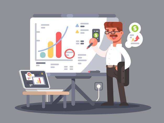 Bedrijfsanalist toont presentatie Premium Vector
