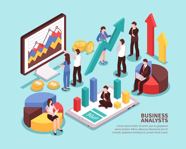 Bedrijfsanalistenconcept met geïsoleerde isometrisch diagrammen en statistieken Gratis Vector