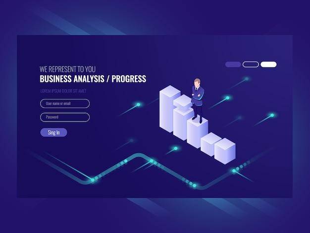 Bedrijfsanalyse en voortgang concpet, zakenman, data-overzicht Gratis Vector
