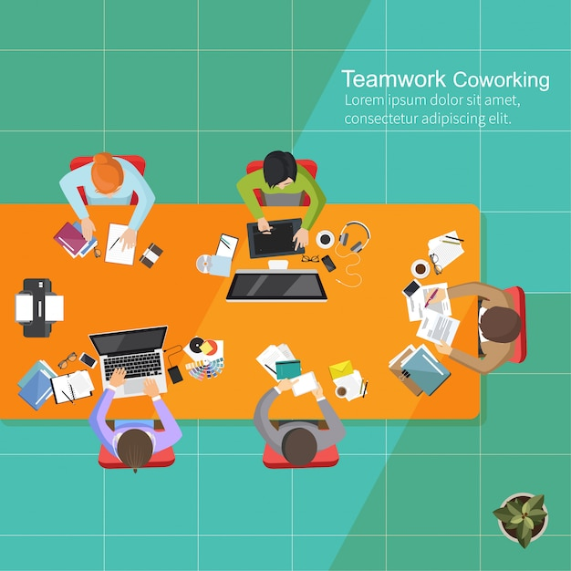 Bedrijfsanalyseteamwork, vlak ontwerp, creatieve het bureauwerkruimte van het teamwerk Premium Vector