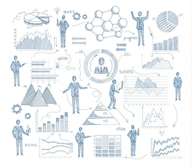 Bedrijfsbeheerconcept met schetsmensen en grafieken Gratis Vector