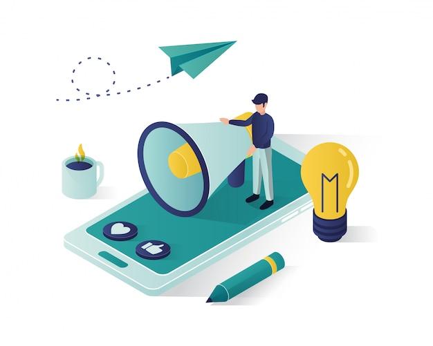 Bedrijfsbevordering isometrische illustratie, sociale media marketing isometrische illustratie. Premium Vector
