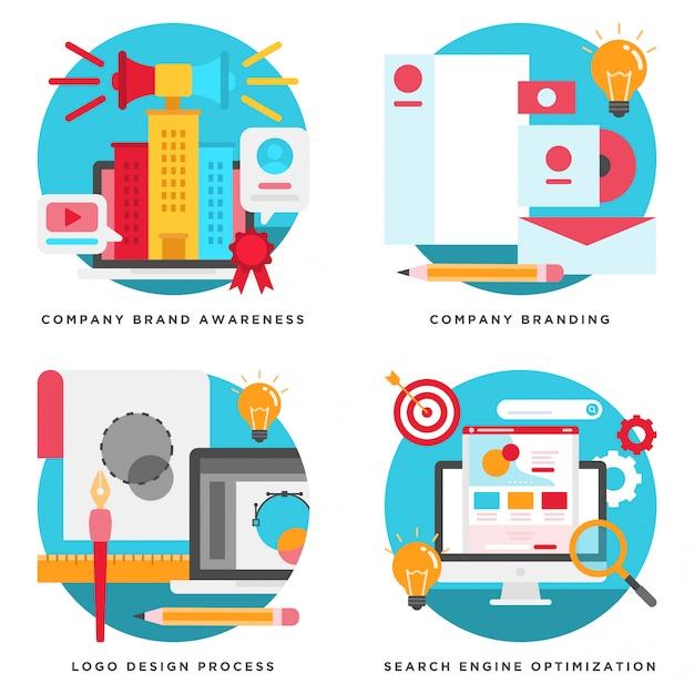 Bedrijfsbranding, logo-ontwerp, seo-concepten ontwerp Premium Vector