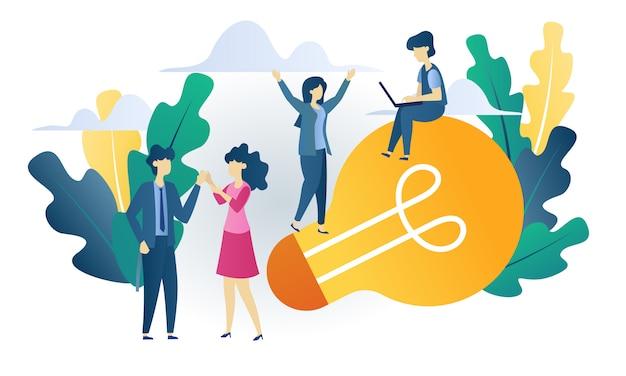 Bedrijfsconcept bouwen idee vlakke afbeelding Premium Vector