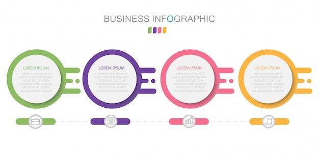Bedrijfsconcept met 4 opties, stappen of processen Premium Vector
