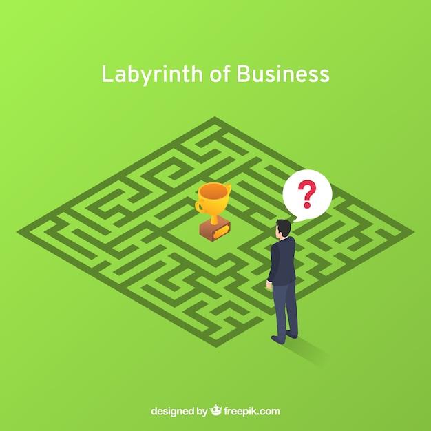 Bedrijfsconcept met labyrint en werknemer Gratis Vector