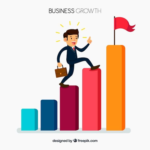 Bedrijfsconcept met man klimmen bars Gratis Vector