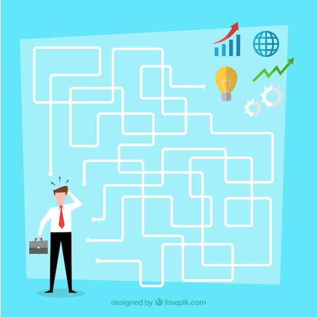 Bedrijfsconcept met platte labyrint Gratis Vector