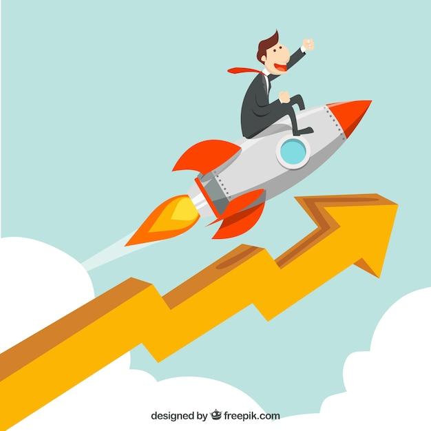 Bedrijfsconcept met raket en pijl Premium Vector