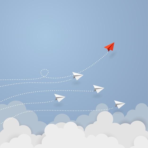 Bedrijfsconcept. rode papieren vliegtuigje vliegen Premium Vector