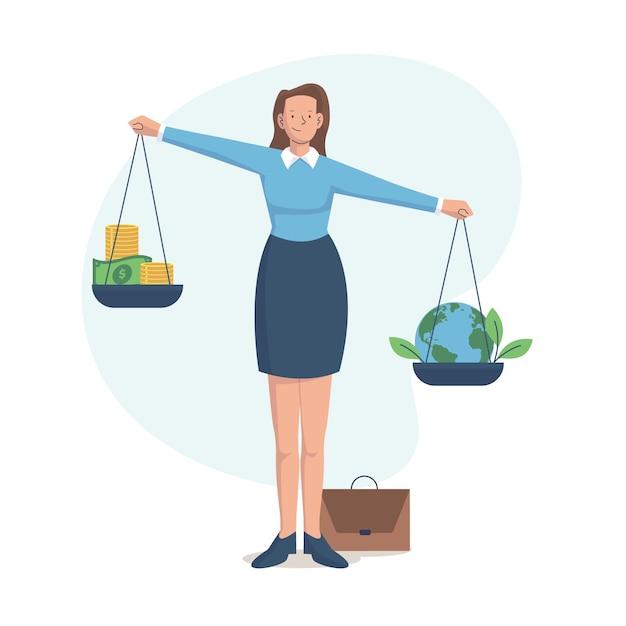 Bedrijfsethiek concept illustratie met vrouw en evenwicht Premium Vector