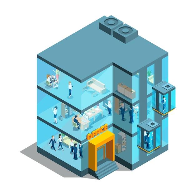 Bedrijfsgebouw met glazen kantoren en liften. isometrische architecturaal Premium Vector