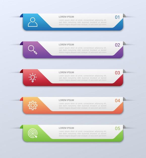 Bedrijfsgegevensvisualisatie, infographic malplaatje met 5 stappen op grijze achtergrond, illustratie Premium Vector
