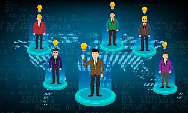 Bedrijfsgemeenschapsnetwerk met de wereldkaart Premium Vector