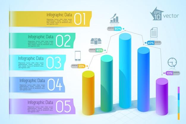 Bedrijfsgrafiek en grafiekinfographics met kleurrijke 3d kolommen van vijf stappenpictogrammen op lichte illustratie Gratis Vector