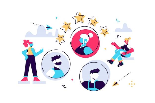 Bedrijfsgrafiek, openstaande vacature, bedrijf is op zoek naar een werknemer voor een baan, gekleurde pictogrammen, creatieve illustraties, zakenlieden overwegen een cv Premium Vector