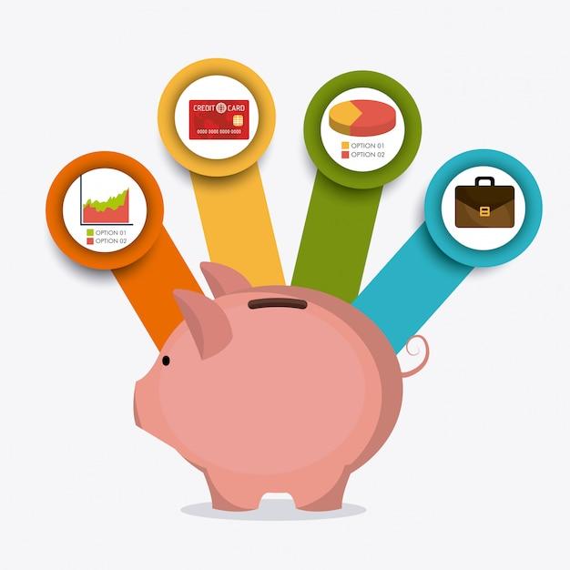 Bedrijfsgroei en geldbesparing Gratis Vector